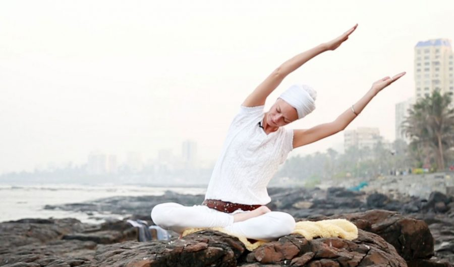Kundalini Yoga Pose by Ocean Shore