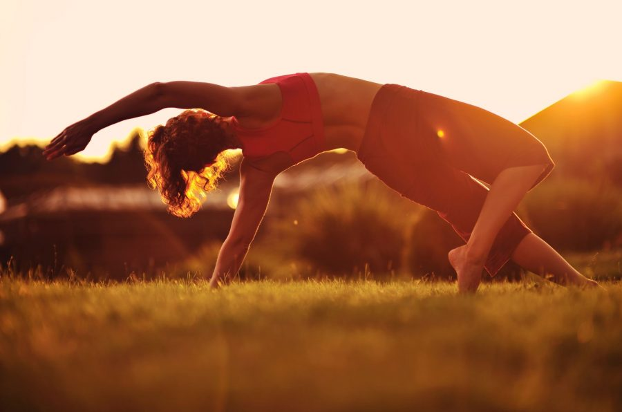 Yoga Pose in Sunrise Field